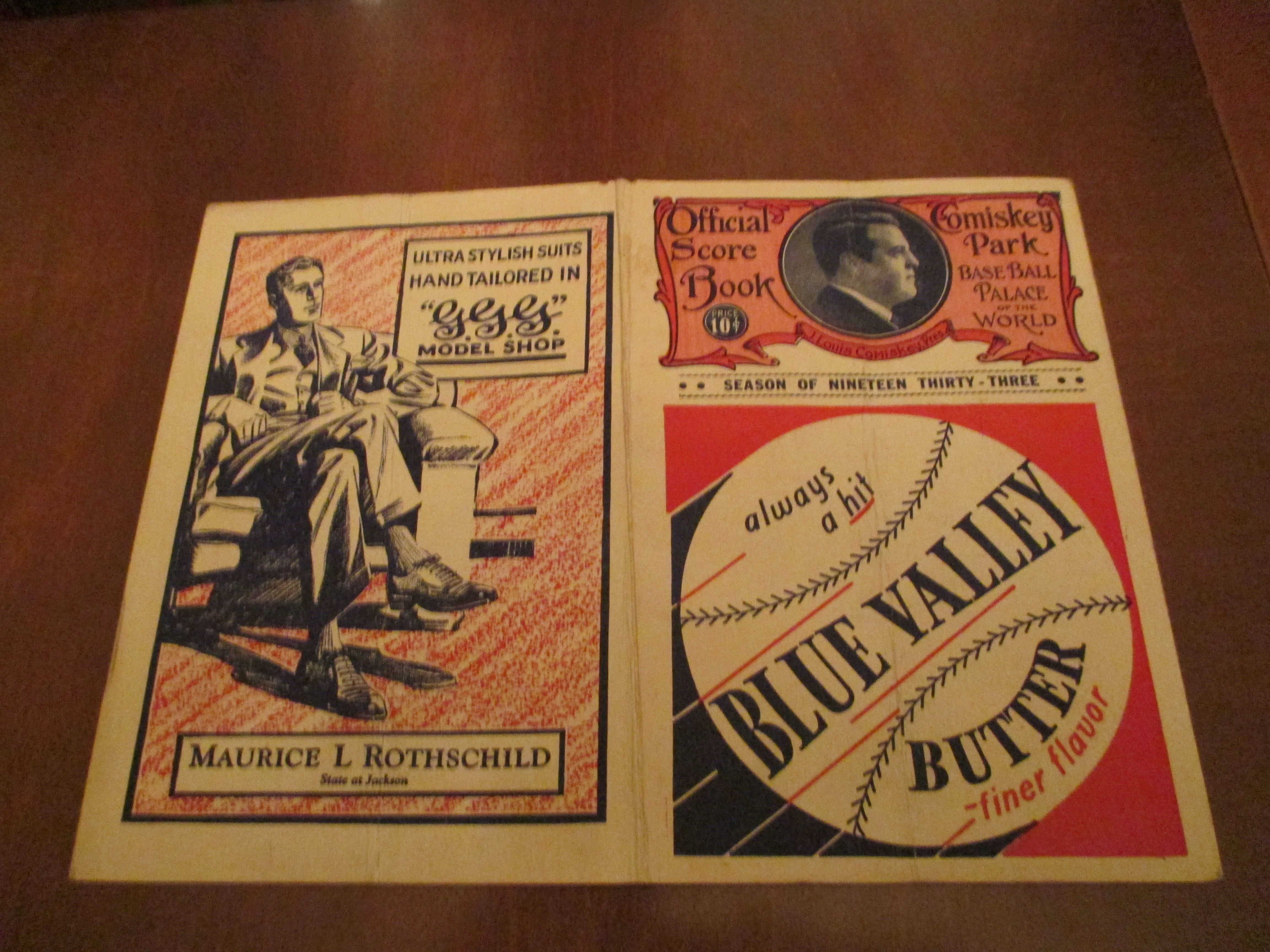 1933 all star program found in attic. First all star game