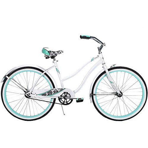 Walmart 26 Huffy Cranbrook Women S Cruiser Bike White And Teal Cruiser Bike Cruiser Bicycle Huffy