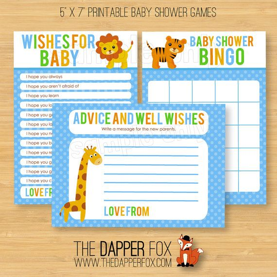 Giraffe Animal Print Baby Shower Games Advice To Parents Cards