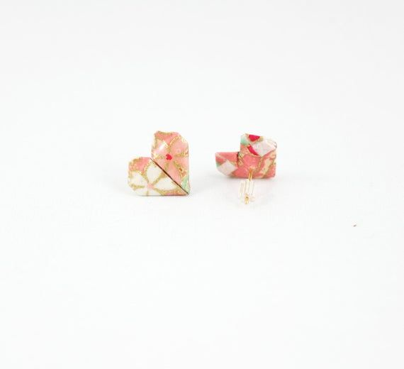 Photo of Valentine's Day Origami Heart Earring, Origami Jewelry, Heart Studs, Tiny Stud, Post Earring, Cute S