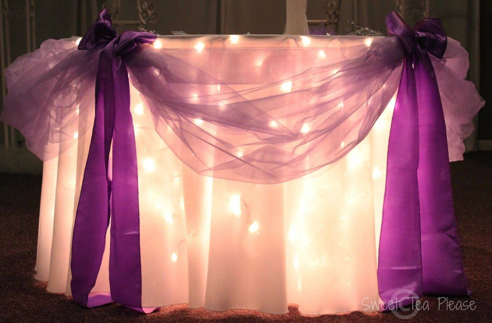 Wedding decorations tulle and lights  Goddess of Eats Decorating a Cake Table With Lights and Tulle  A