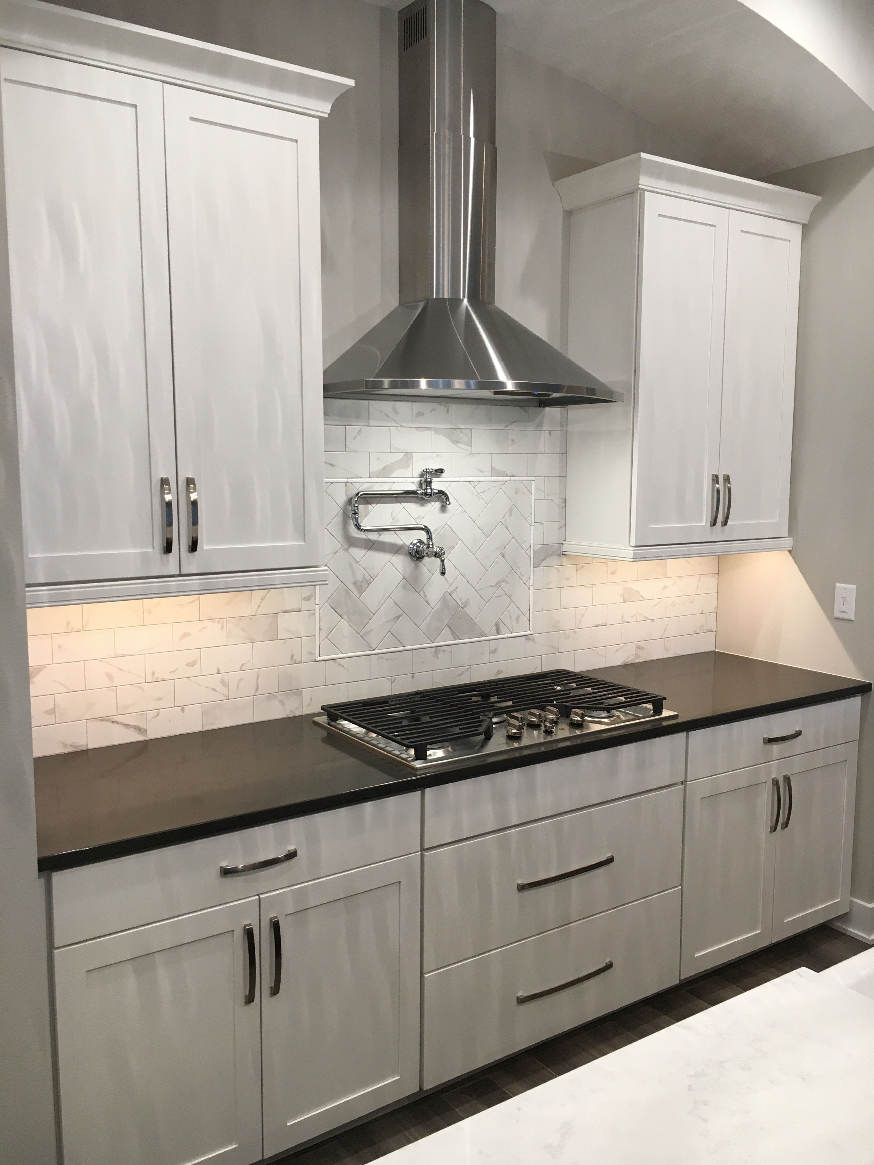 mixed countertops, mixed cabinet finishes, white cabinets ...