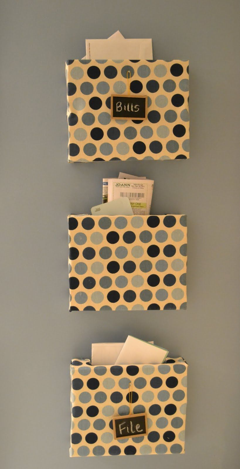 Mail organizer from cereal or cracker boxes covered with scrap mail organizer from cereal or cracker boxes covered with scrap fabric contact paper decoupage or wallpaper diy ideas pinterest scrap fabric solutioingenieria Choice Image