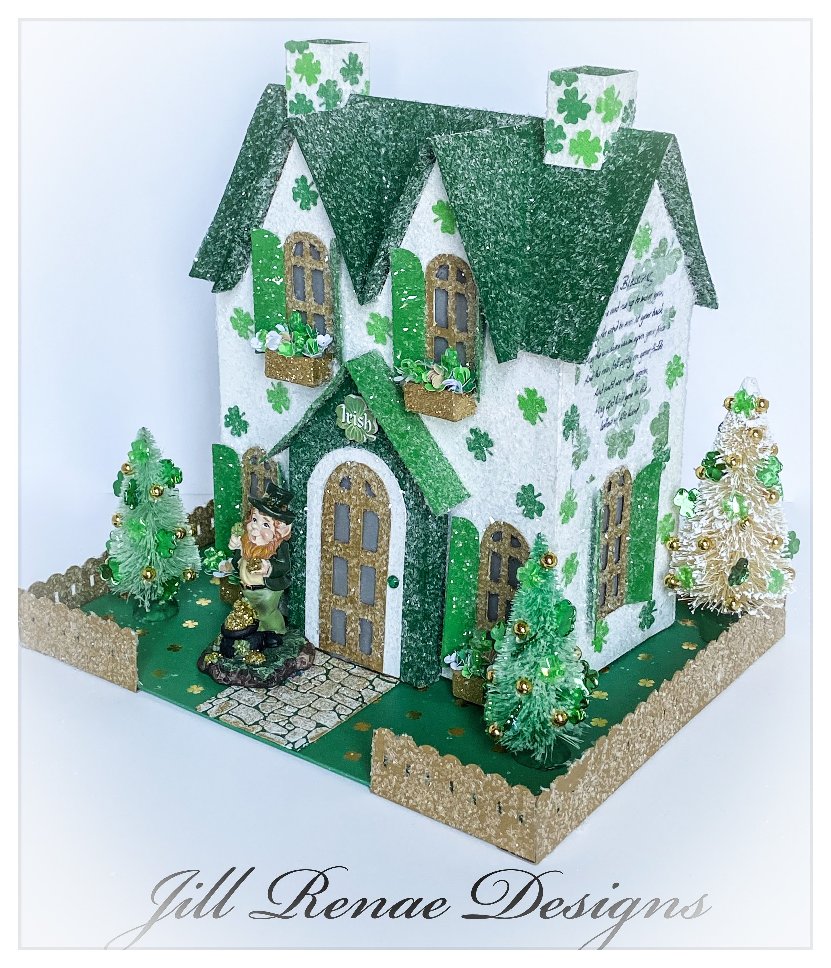 St Patrick S Day Putz House Large Shamrock Cottage In 2020 Glitter Houses Putz Houses Handmade