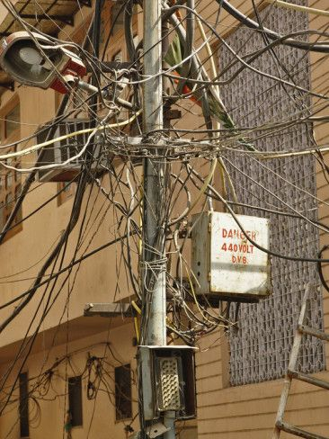 Superb Unsafe Electrical Wiring On A Street In Delhi India Photographic Wiring 101 Tzicihahutechinfo