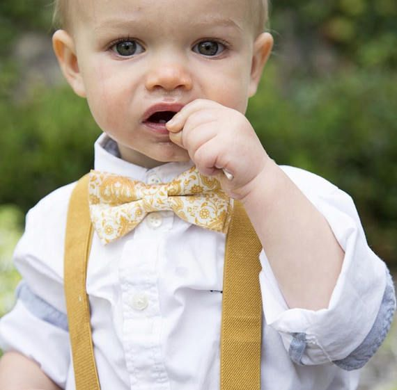 1st Birthday boy cake smash bow tie suspenders outfit blue yellow