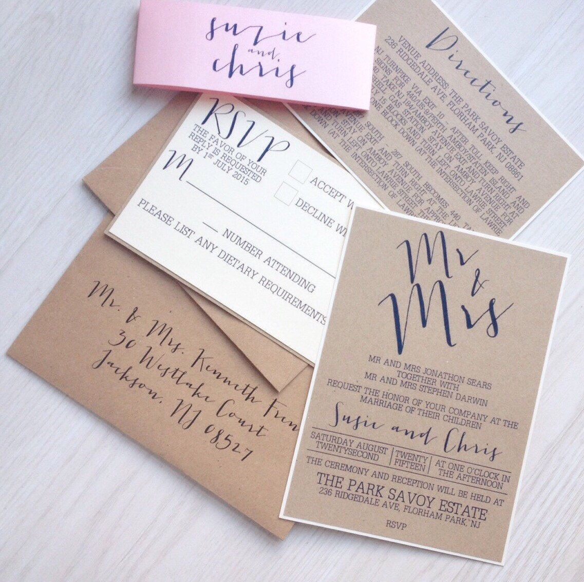 Kraft wedding invitation - blush and navy by Creationery on Etsy ...