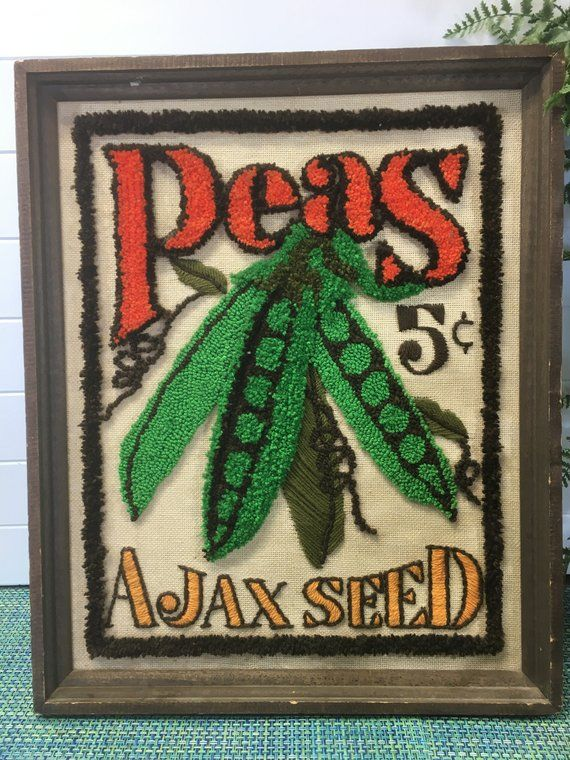 Vintage 70 S Peas Ajax Seed Packet Finished Hook Rug Etsy