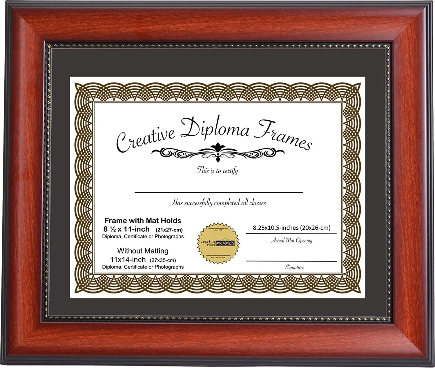 Creative Picture Frames 11x14 Inch Eco Mahogany Diploma Frame With Black Mat To Hold 8 5x11 Media A4 Document Includes Installed Hangers Check This Awe In 2020 Frame