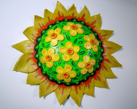 Clay Pottery Sun Sunflower Lime Green Yellow Orange Wall Hanging ...
