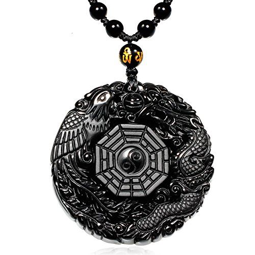 MOHICO Dragon Obsidian Pendant Necklace Dragon and Phoenix Natural Obsidian Crystal Penda