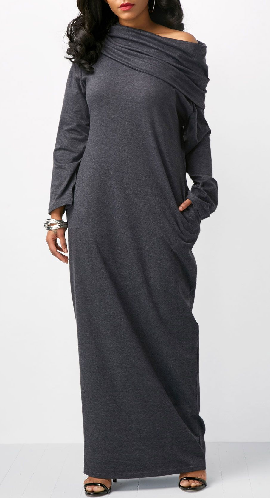 Pocket long sleeve skew neck maxi dress fall fashion