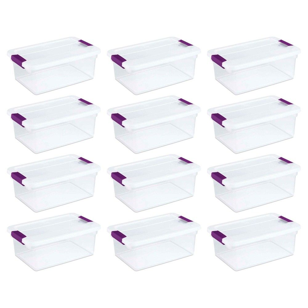 Sterilite 1753 15 Quart Clear View Latch Box Storage Tote Containers 12 Pack Storage Boxes Plastic Box Storage Tote Storage