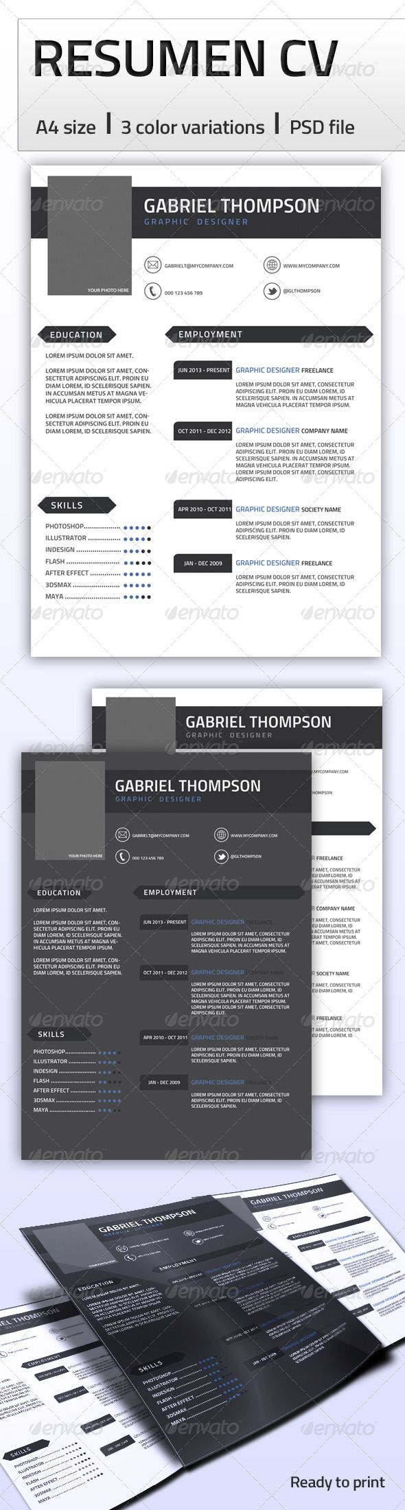 Resume CV Features Page size CMYK