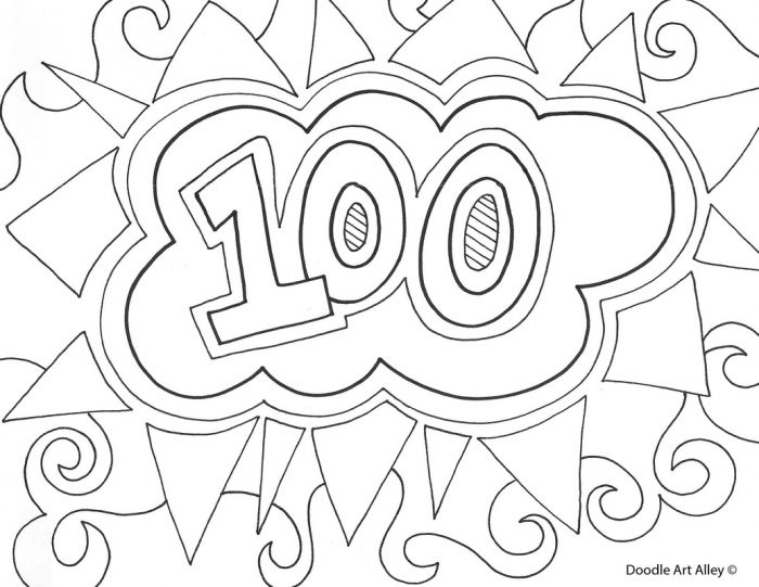 100th Day Of School Classroom Doodles 100 Days Of School Coloring