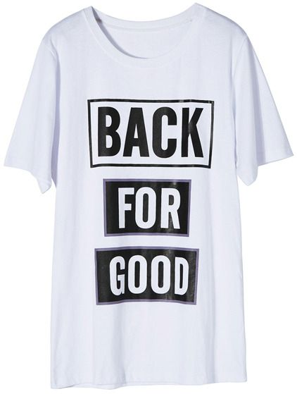 Romwe Letters Print Short-sleeved White T-shirt on shopstyle.com