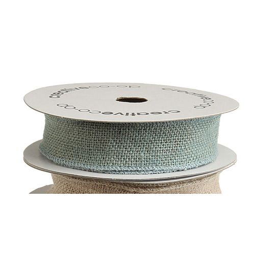 1.5 Inch Wide Blue Wired Burlap Ribbon | Great for crafting & gift wrap.