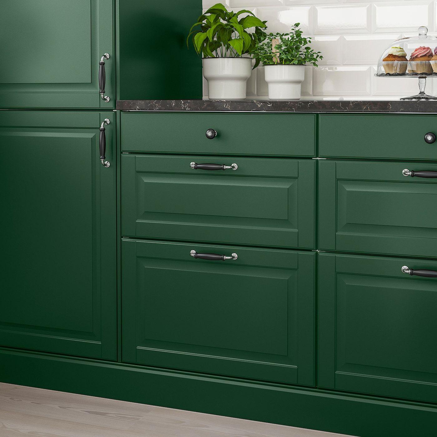 Bodbyn Drawer Front Dark Green Ikea In 2020 Dark Green Kitchen Green Kitchen Cabinets Green Kitchen