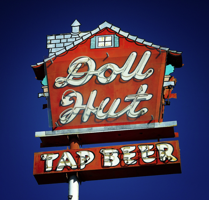 The Doll Hut   Vintage neon signs, Old neon signs, Cool