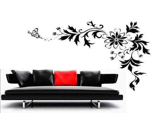 black vine butterfly flower floral leaf vinyl removable wall art