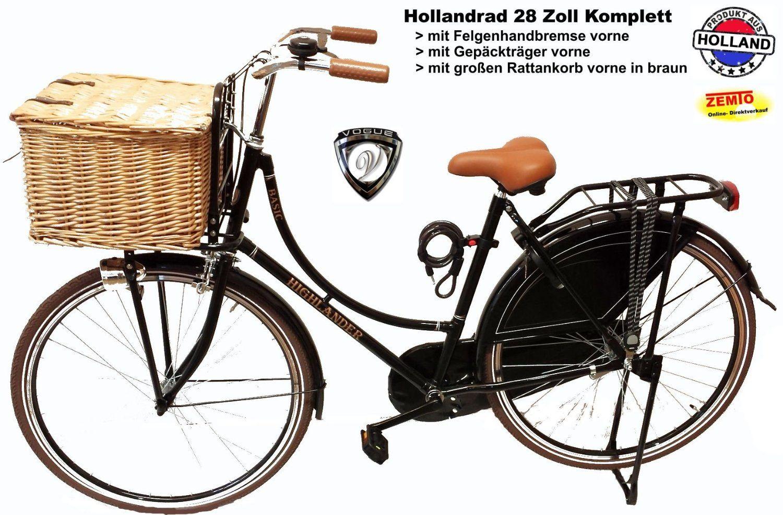 Hollandrad Damen 28 Zoll Komplett Mit Grossen Rattankorb Braun
