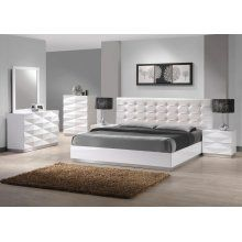 Unique 3D Surfaces Verona Bedroom Set in White Lacquered Finish - JandM Furniture SKU17688