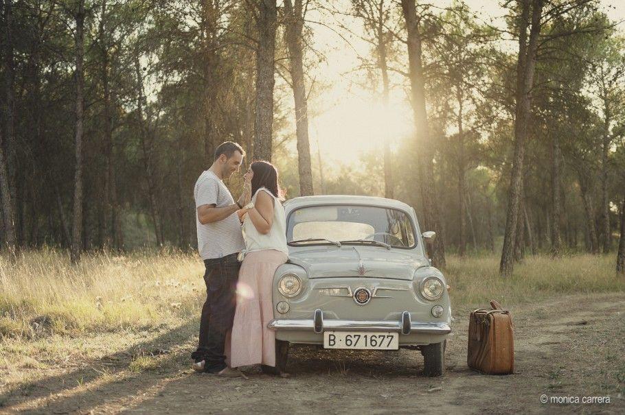Una preboda en el campo con buena música | fotografo de boda, preboda romantica, fotografo lleida, fiat 600