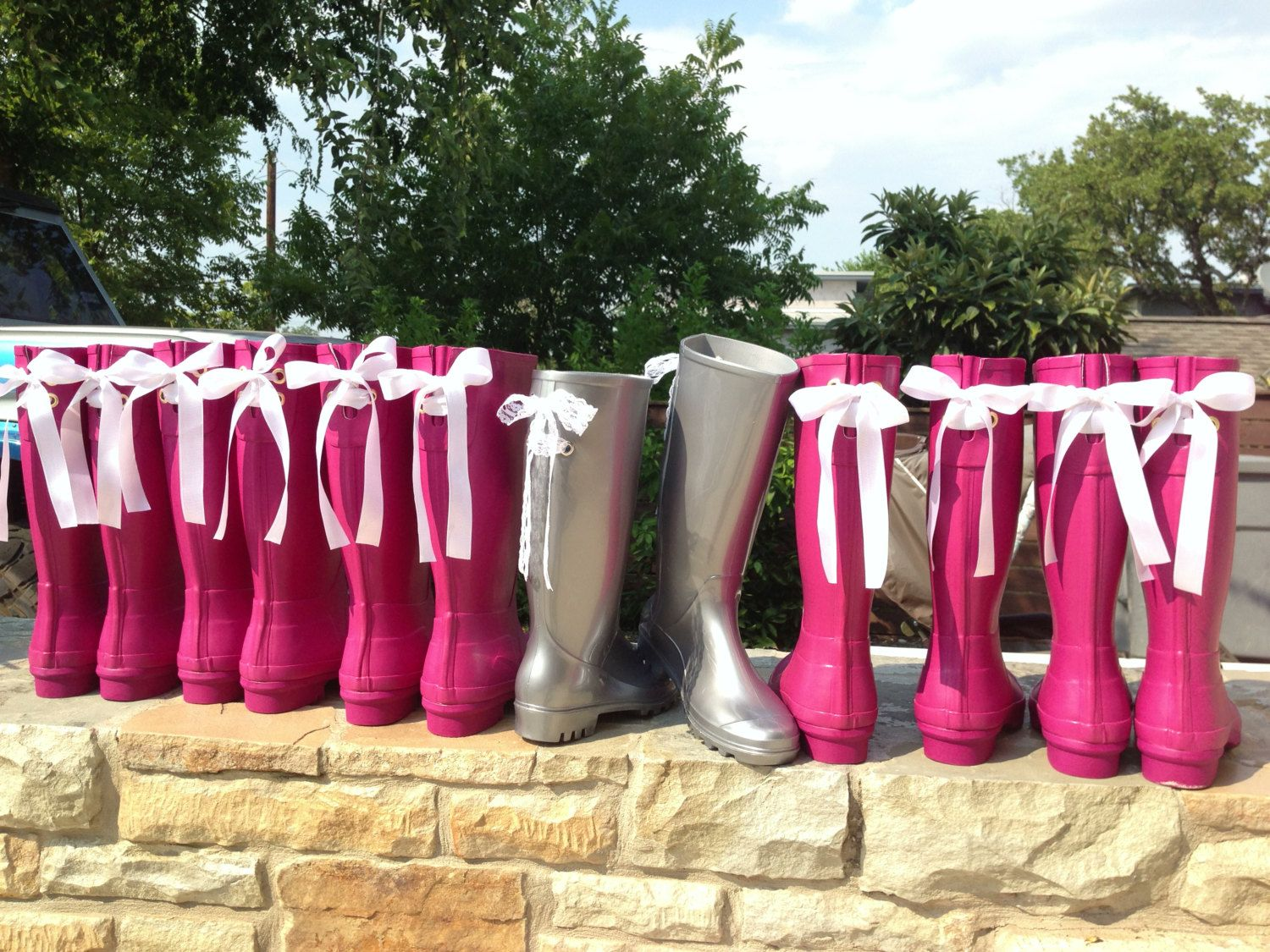 Wedding Rain Boots With White Lace Bows By Puddlesnrainbows 82 00