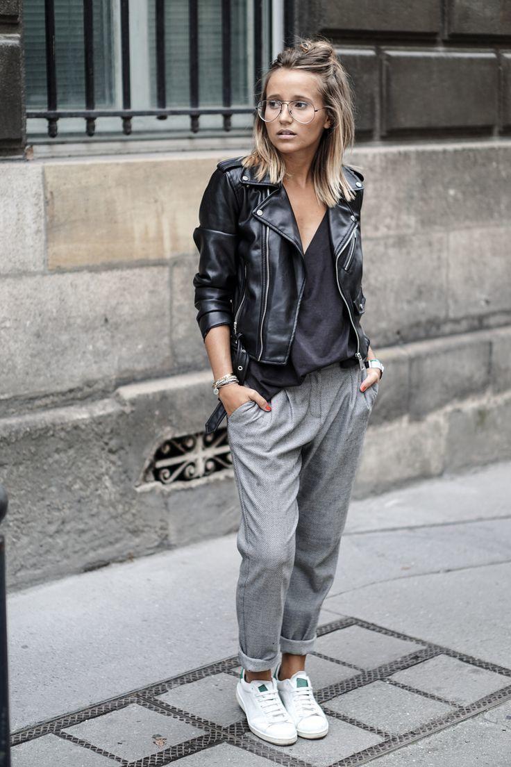 Black t shirt grey pants - Women S Black Leather Biker Jacket Black V Neck T Shirt Grey Tapered Pants White Leather Low Top Sneakers