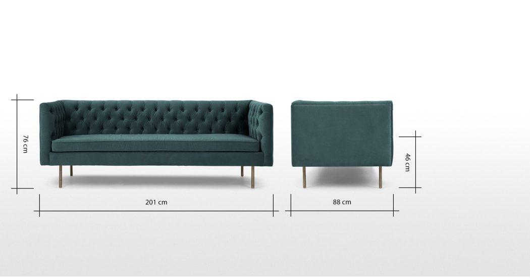 Made Petrol Cotton Velvet Sofa 3 Seater Sofa Sofa Cotton Velvet