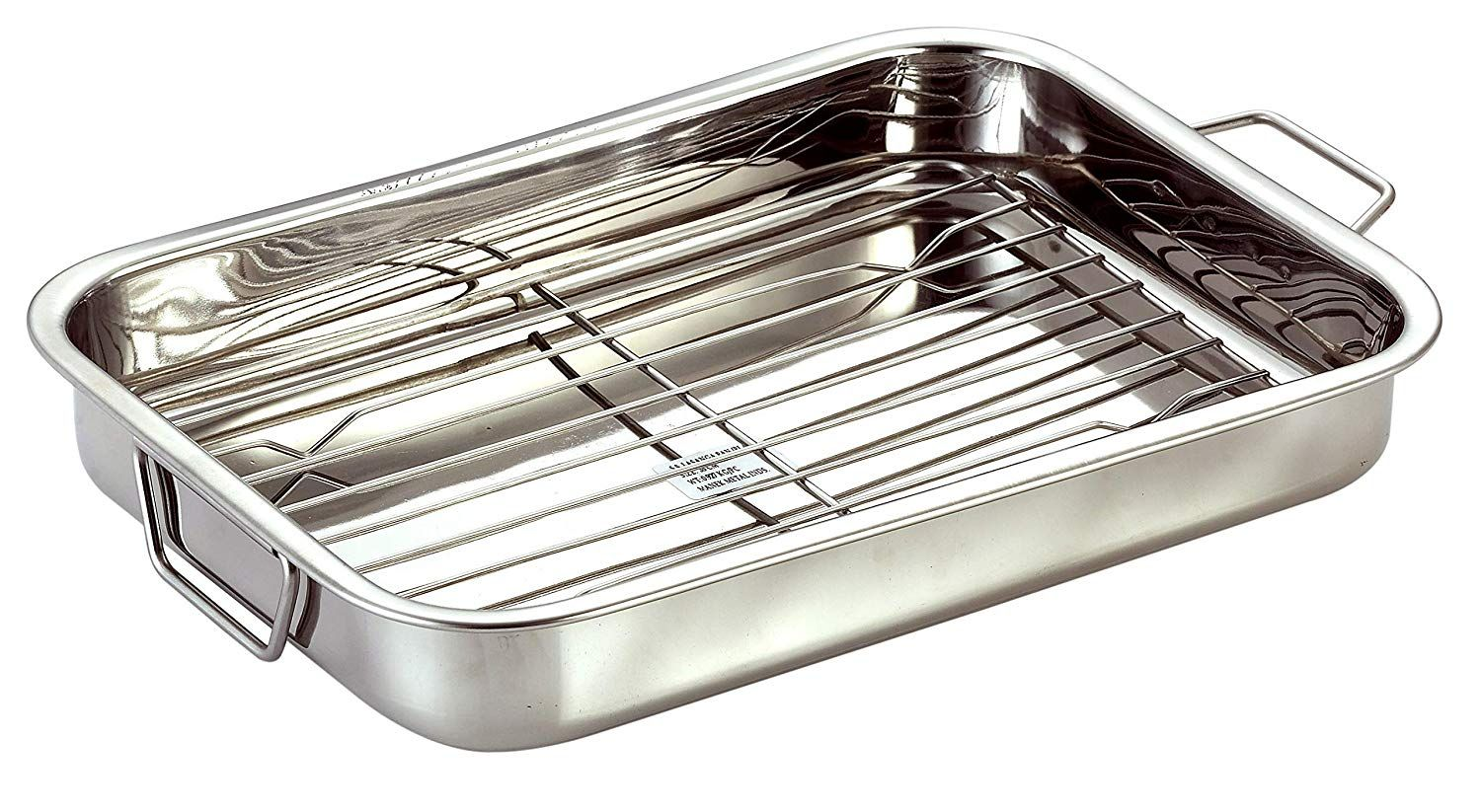 Stainless Steel Roast Pan With Grill Rack And Folding Handles Chef Direct Rectangular Lasagna Pan For Baking Grill Grill Rack Roasting Racks Lasagna Pan
