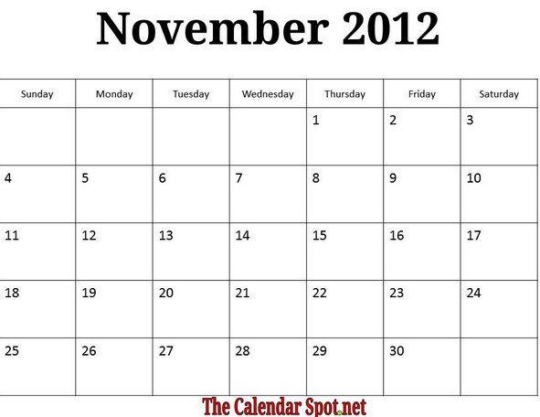 November Calendar 2012 : November calendar image printable monthly calendars