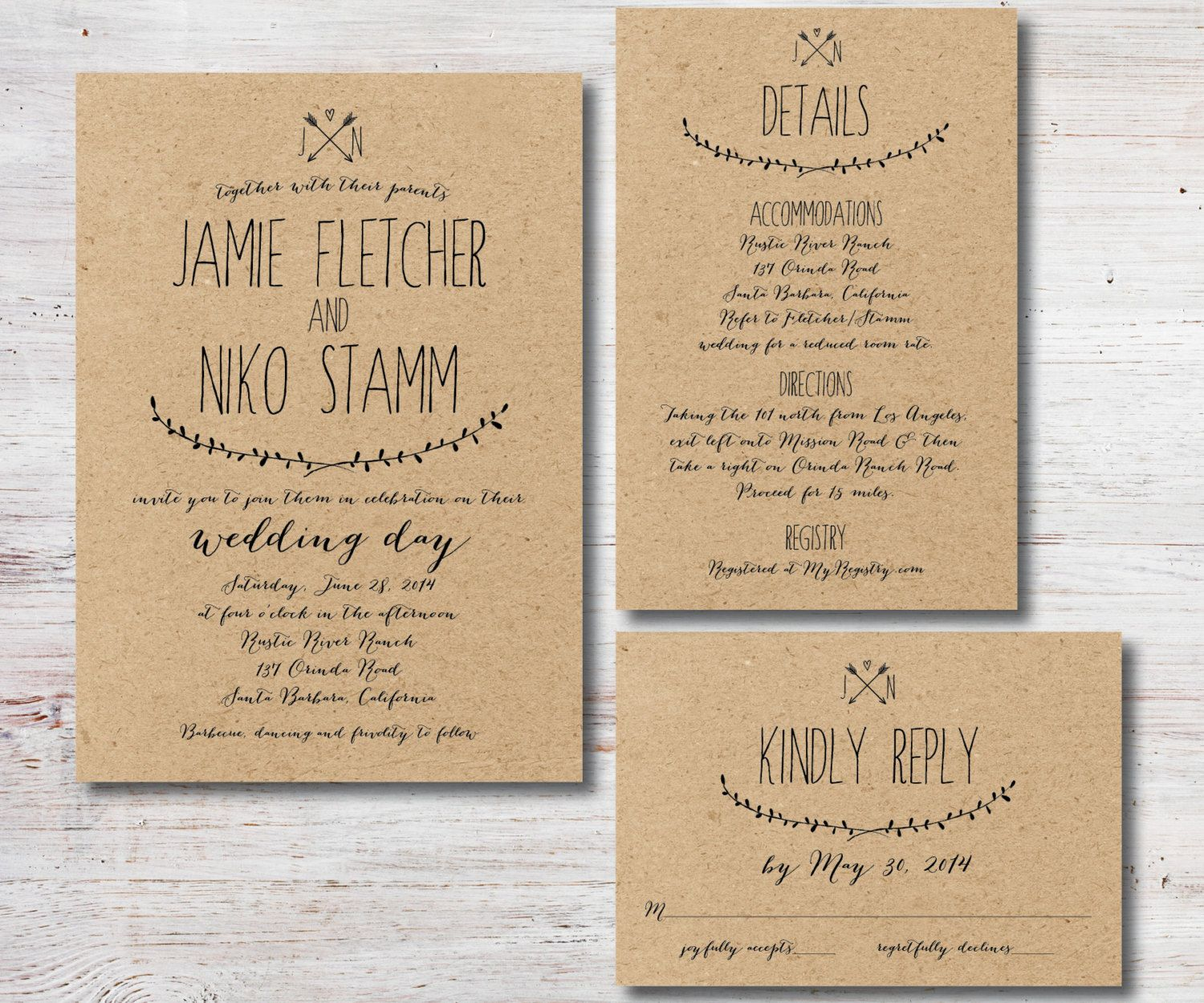Rustic Wedding Invitation RSVP Details Card by
