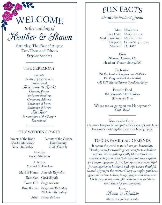 Image Result For Fun Facts About Bride And Groom Wedding Ceremony Programs Stationery