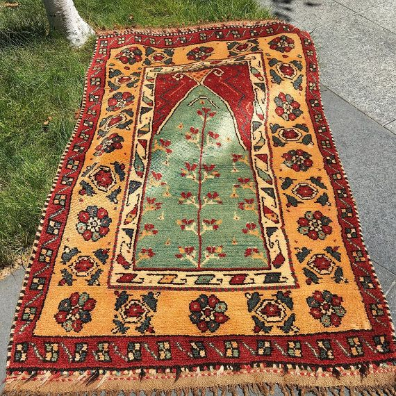 Antique Manastir Prayer Rug Anatolian Folk Art Mat Area