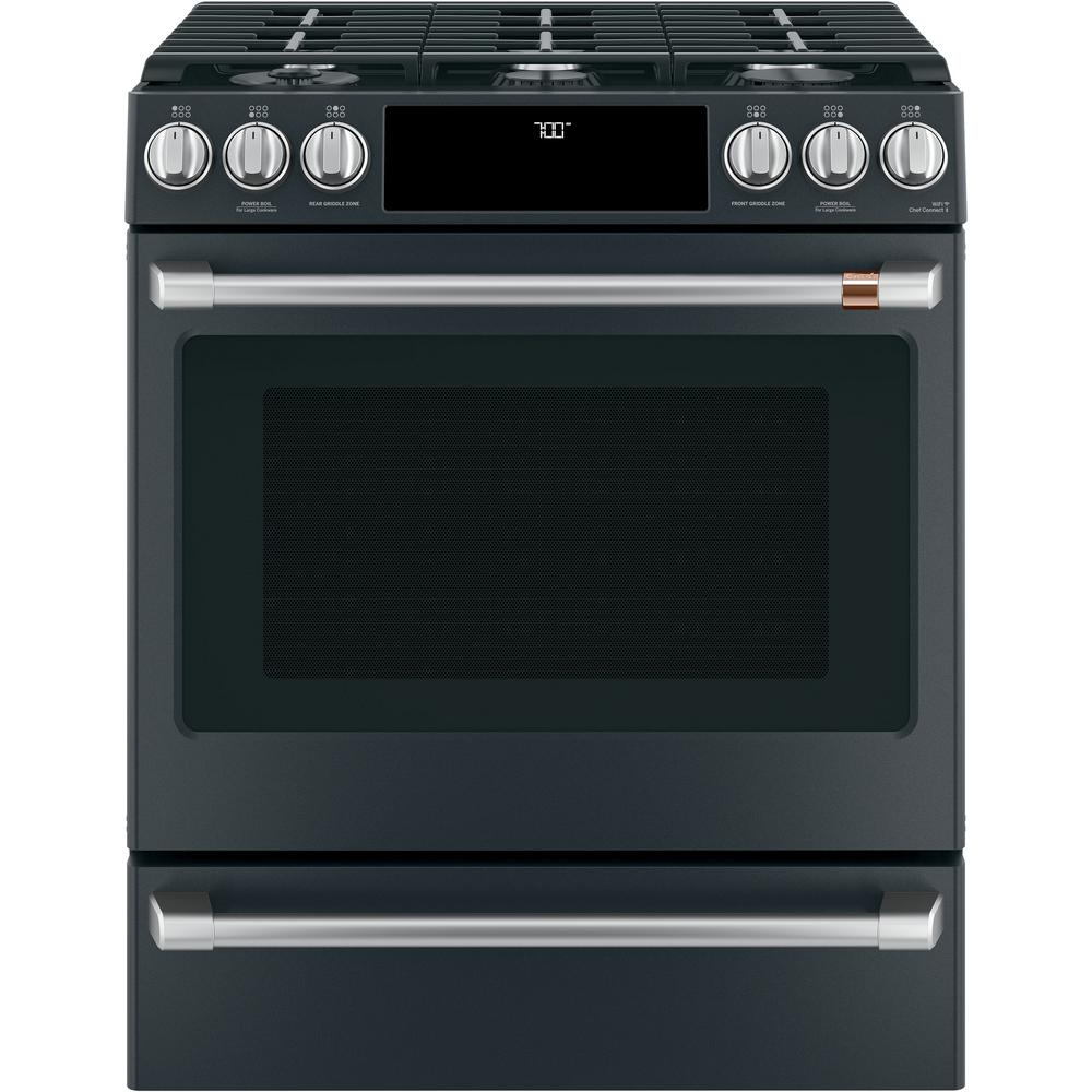Cafe 30 In 5 6 Cu Ft Gas Range With Self Clean Oven In Matte