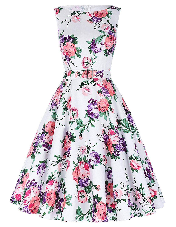 Amazon.com: Belle Poque 1950\'s Floral Retro Swing Dress Party ...