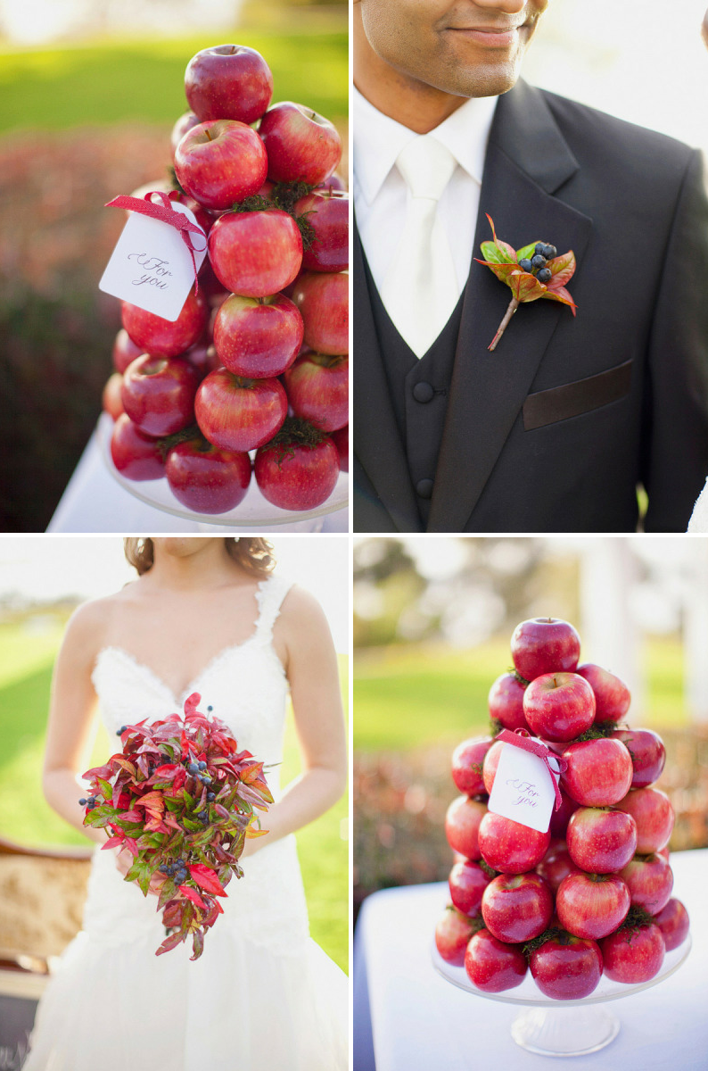 Apple decorations wedding - Edible Wedding Flower Accents Berries In Bouquet Apple Centerpieces