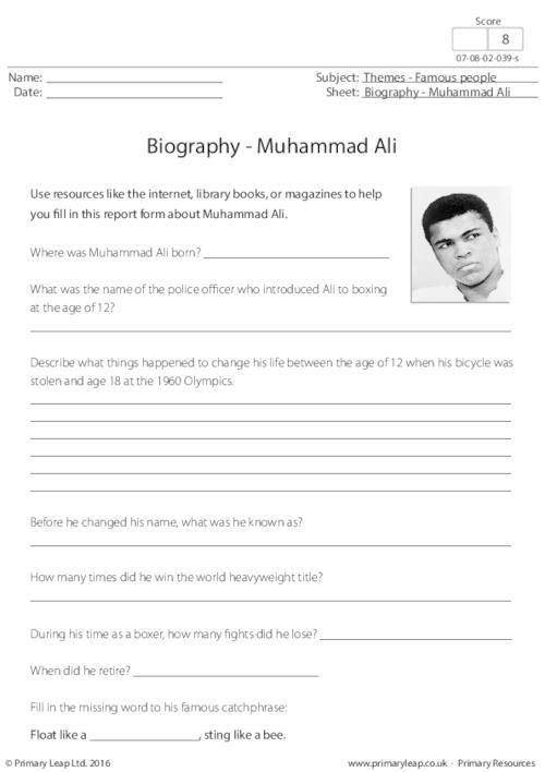 PrimaryleapCoUk  Biography  Muhammad Ali Worksheet  Black