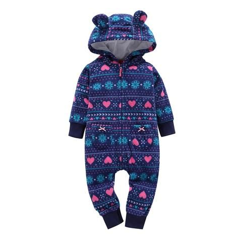 eacae780b933 Brand fall cute baby rompers giraffe fleece lining baby hooded ...