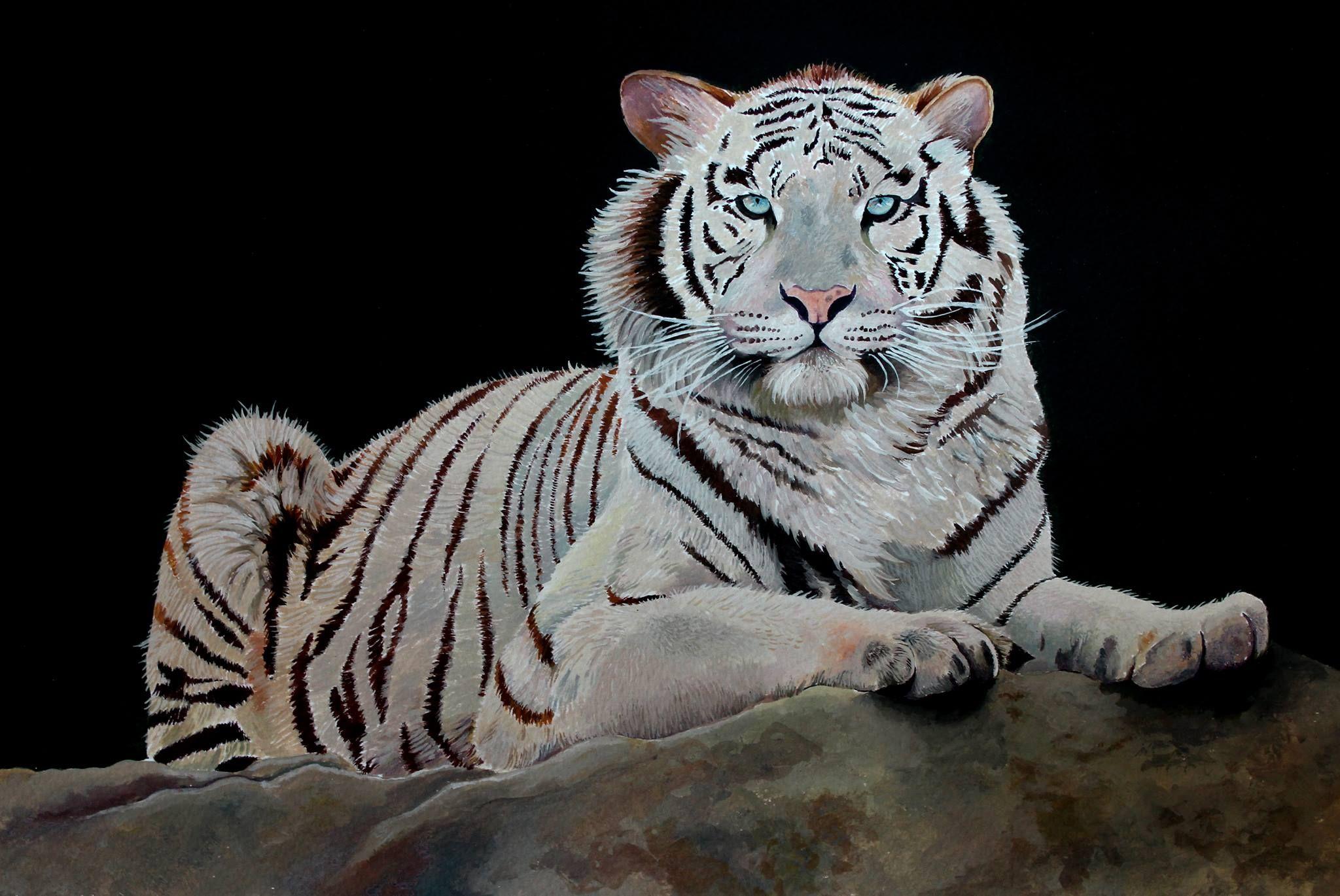 Tigre de Bengala. Acrílico/papel. Acrilic paint. | Dibujos ...