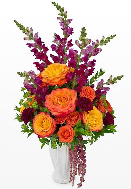 Bold Orange Roses Aand Burgundy Snap Dragons In A Sympathy Arrangement Memorial Service