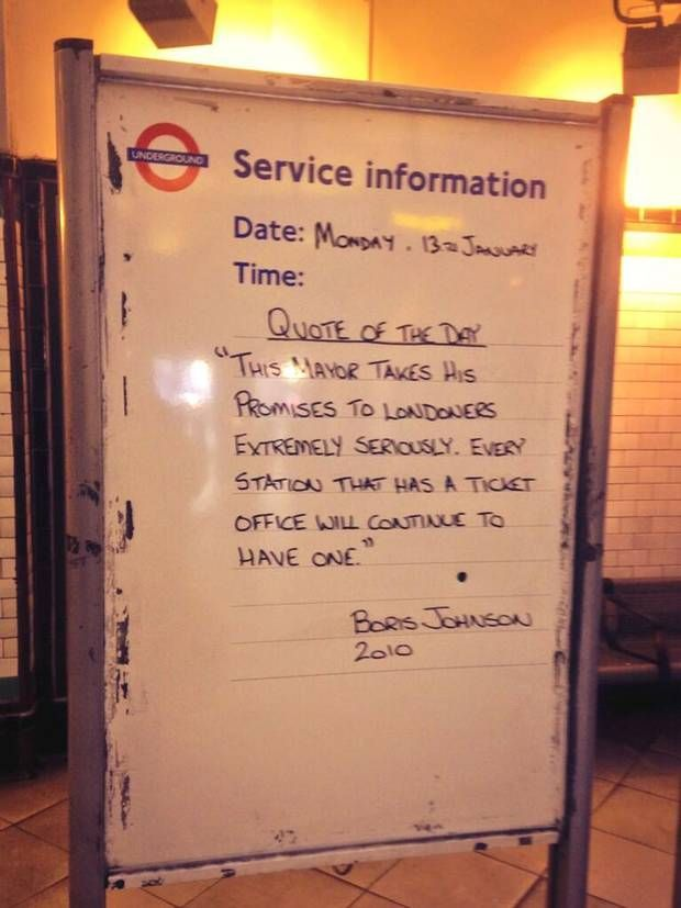 Boris Johnson Tfl Information Sign Mocks Mayor Ahead Of Planned Tube
