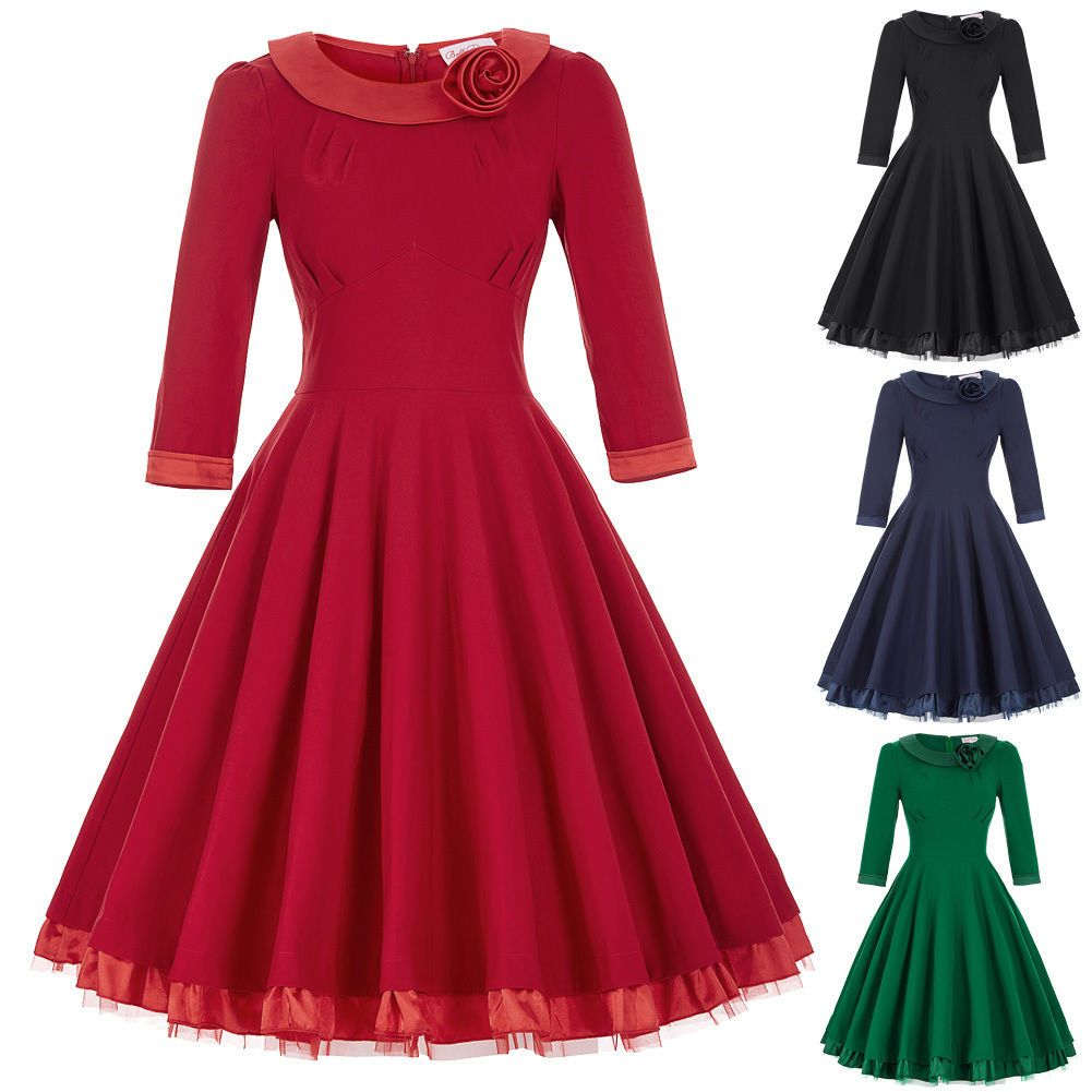 Womens s s vintage swing pinup retro tea dresses housewife