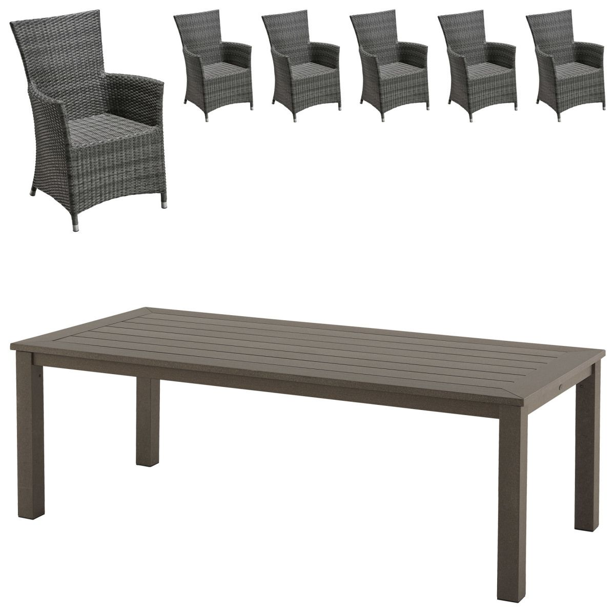 Gartenmöbel Set Alexis/Kansas (1 Tisch, 6 Komfortsessel) Jetzt