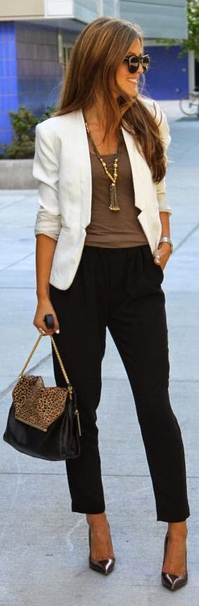 Street fashion trousers, white blazer and brown cami