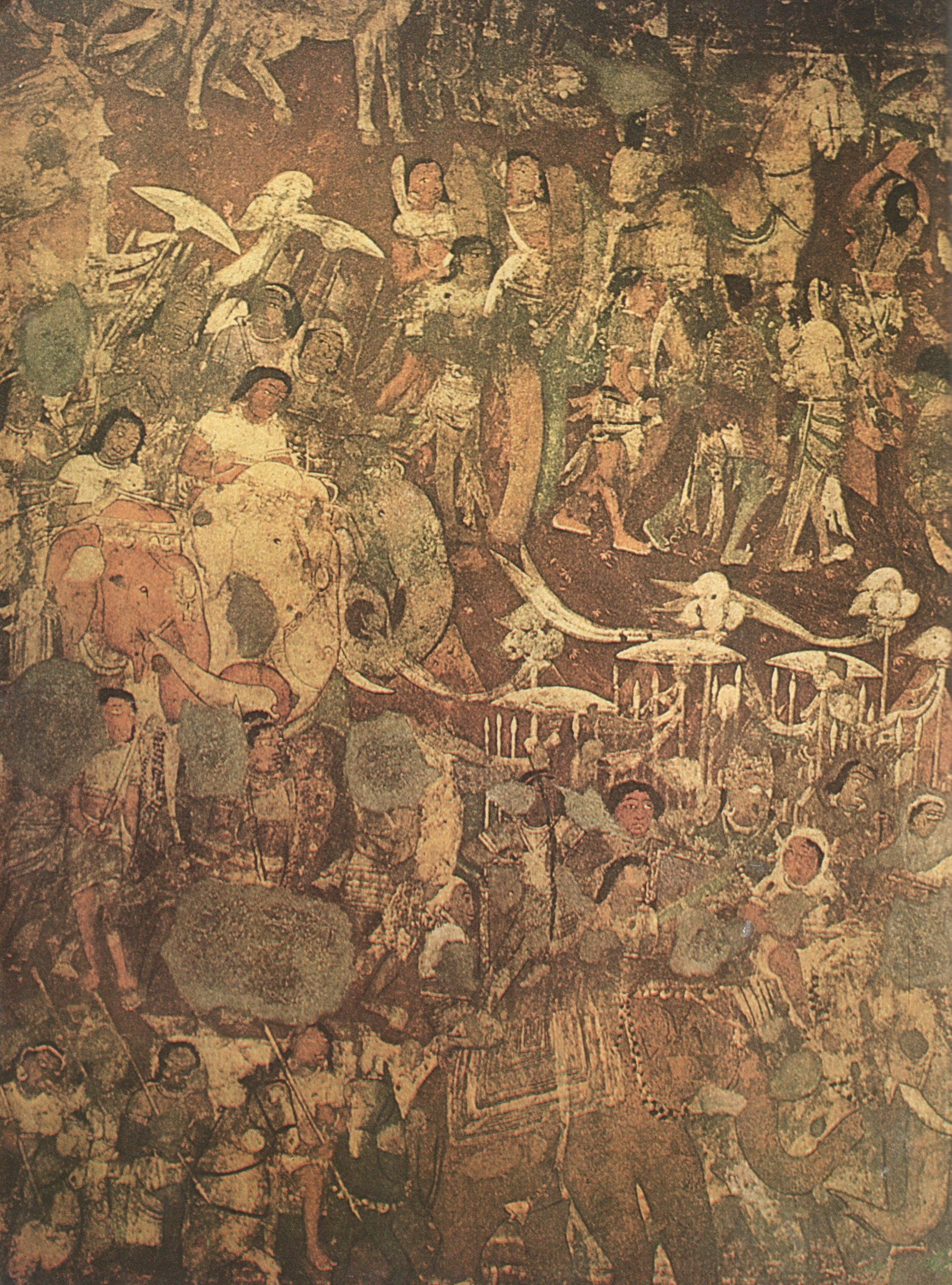 Section of the mural in cave 17 the 39 coming of sinhala for Ajanta mural painting