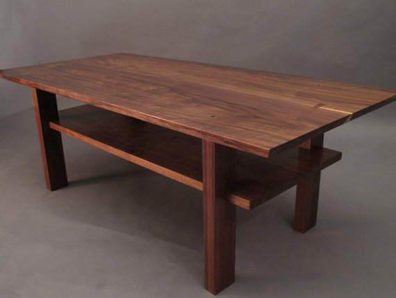 Small Coffee Table With Storage Shelf MidCentury Modern Furniture, Wood  Coffee Tables, Modern Tables  Handmade Custom Wood Furniture