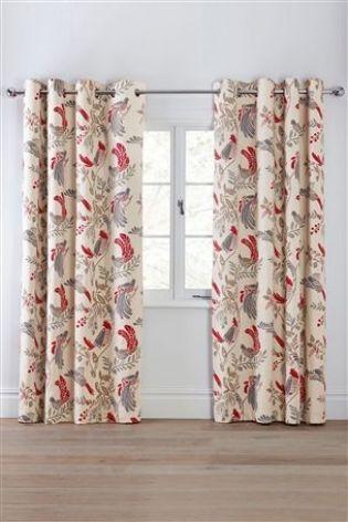 Decorative Bird Print Eyelet Curtains