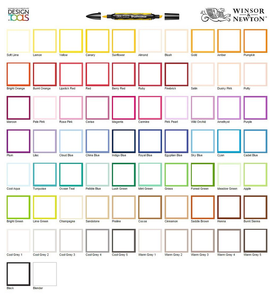 Winsor newton brushmarker blank chart chart markers and copic i made a blank chart to keep track of my colours feel free to use nvjuhfo Choice Image